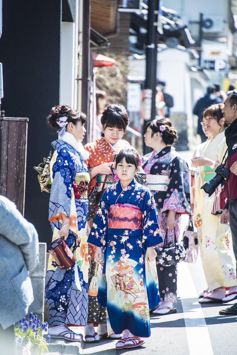 Tourists dressed like geishas in Kyoto