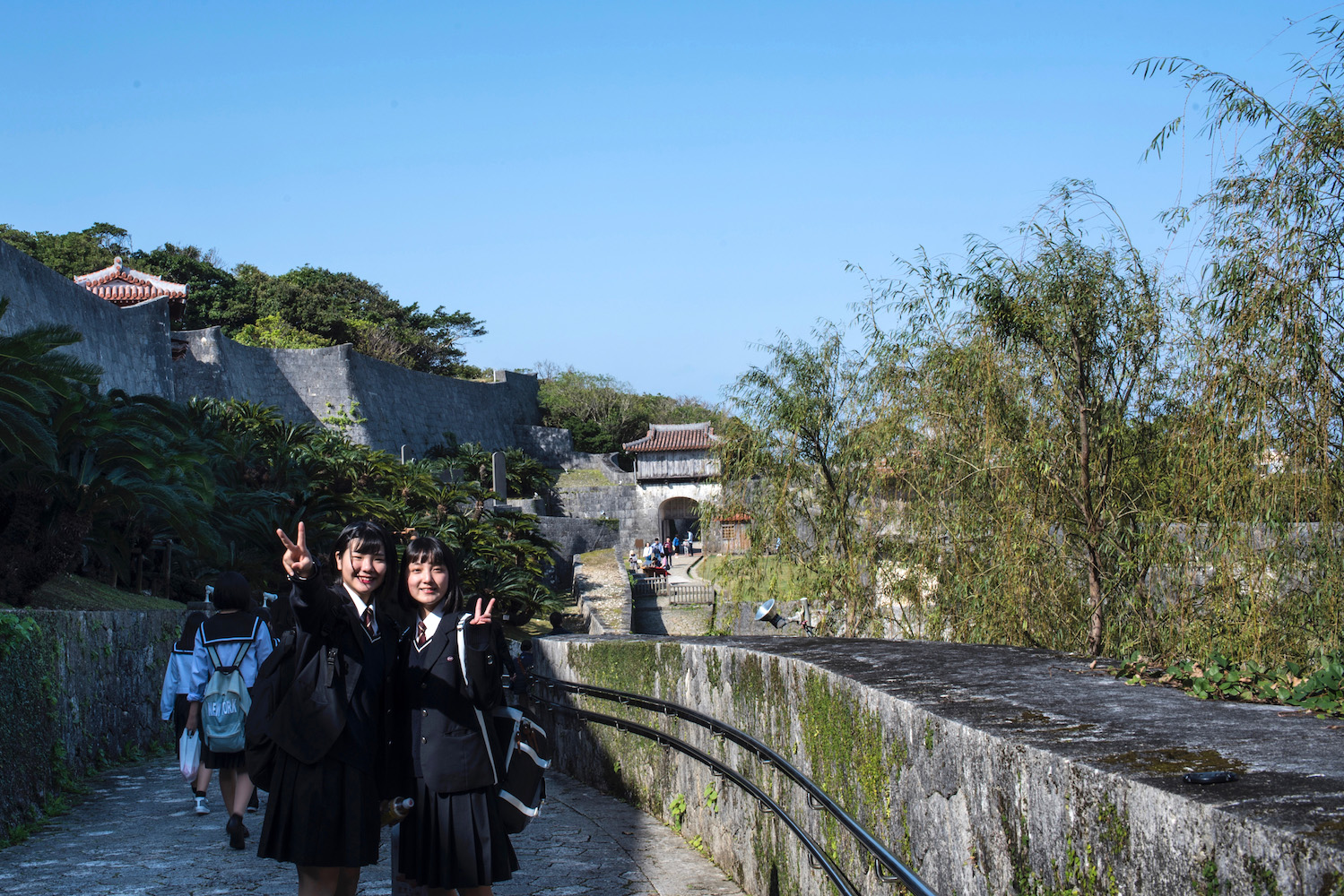 Japanese girls at Shuri Castle in Naha, Okinawa