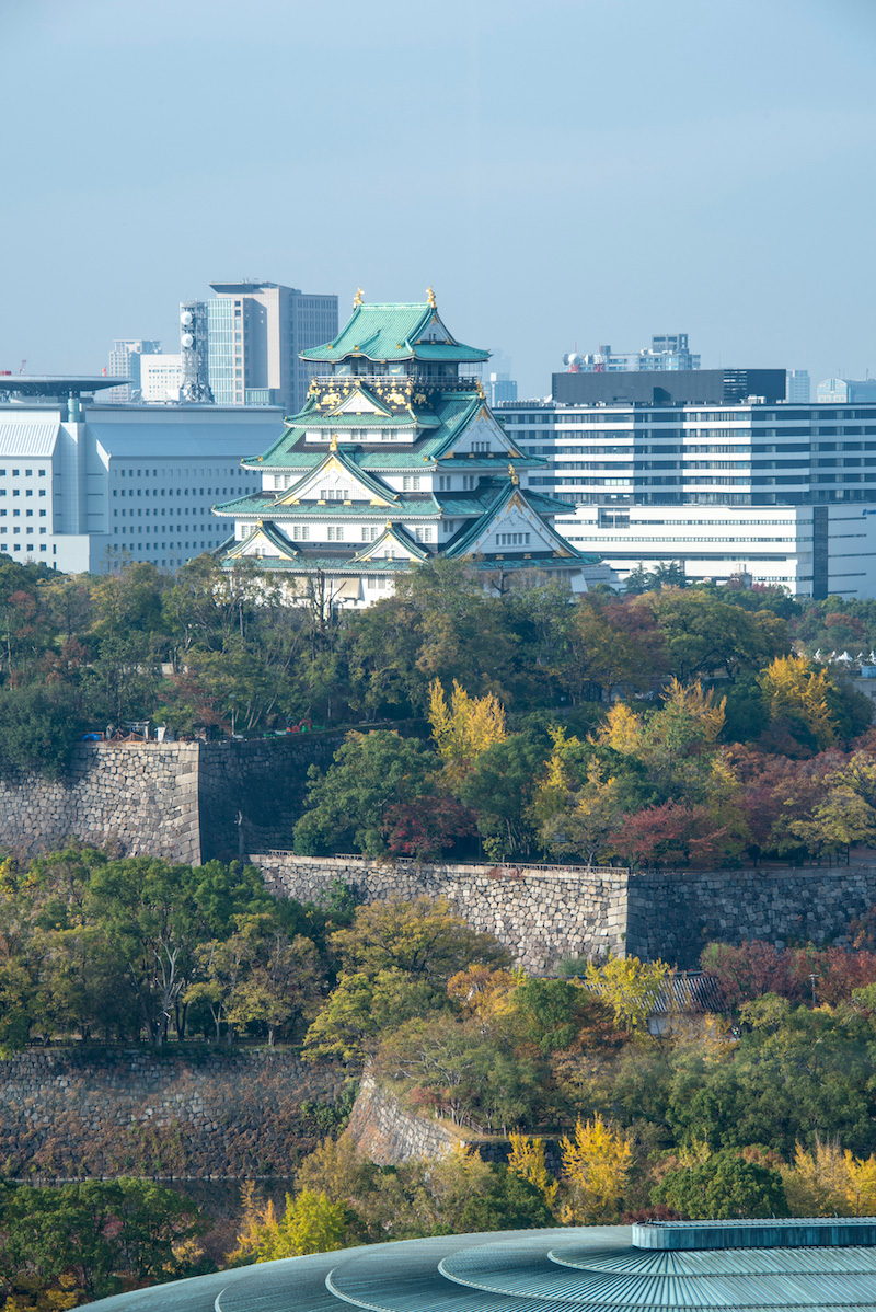 Fall colors at Osaka Castle in Japan